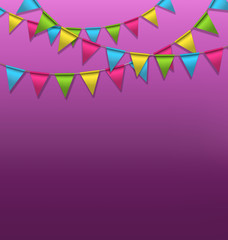 Multicolored bright buntings garlands on violet background