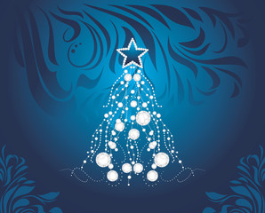 Shining Christmas tree on dark blue decorative background