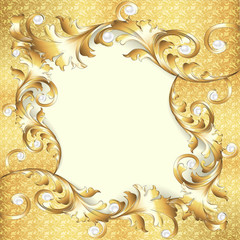 background frame with gold ornaments and pearls