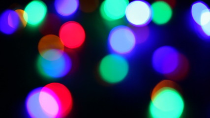 LED christmas lights; shallow depth of field (dolly shot)