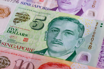 Different Singapore Dollar banknotes on the table