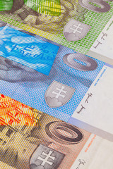 Different Slovakian   banknotes from on the table