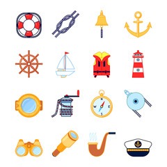 Set of colorful yachting icons. Sailing symbols