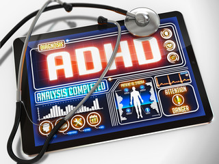 ADHD on the Display of Medical Tablet.