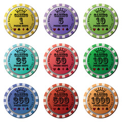 Poker chips set isolated white background