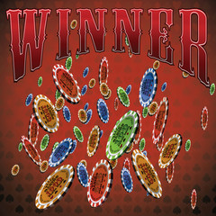 Poker chips many falling red background text winner