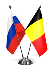 Russia and Belgium  - Miniature Flags.
