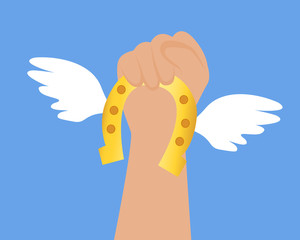 Get lucky. Hand holds a horseshoe with wings