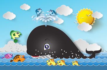 Illustration of cute cartoon whale.