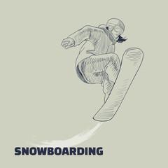 illustration of jumping snowboarder