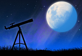 Silhouette of the telescope and the full moon