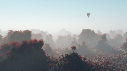 Aerial of hot air balloon flying over autumn mountain landscape
