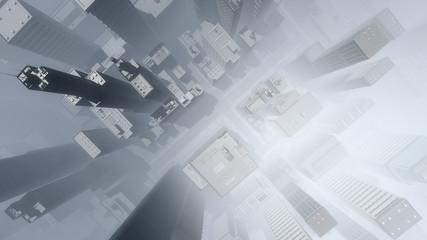 Aerial of skyscraper city in the mist.