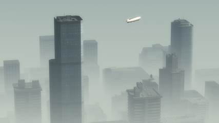 Aerial of airship flying over skyscraper city in the mist.