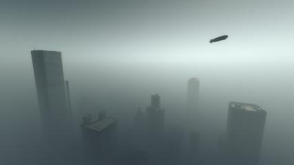 Aerial of zeppelin flying over skyscraper city in the mist.