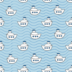 Summer seamless pattern with ship images blue ocean background