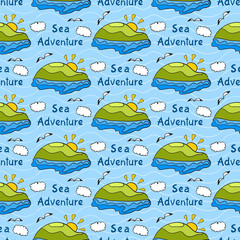 Summer seamless pattern with bright images of island, sea