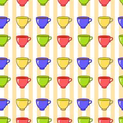 Seamless pattern with colorful tea mugs