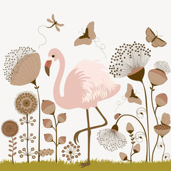 Floral background with flamingo