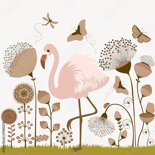Floral background with flamingo - 74612274