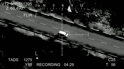 the missile hits the car, view from the drone. 3d animation