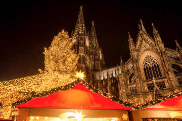 cologne cathedral with christmas market