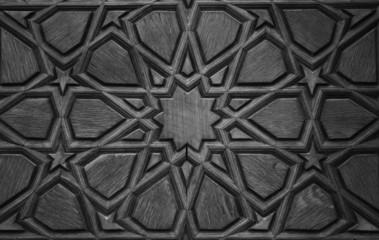 Old wooden door detaik-monochrome version