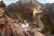 selfie while hiking angels landing - 74614083