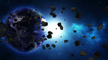 Earth in universe, space, galaxy with asteroids or meteors. LOOP