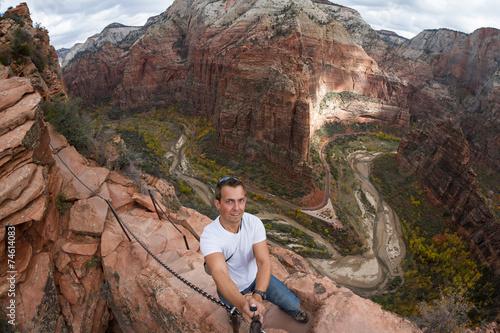 selfie while hiking angels landing - 74614083