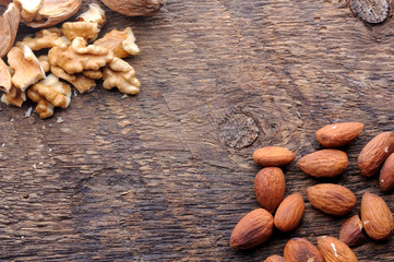 walnuts and almonds background