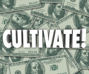 Cultivate Word 3d Letters Money Background Grow Wealth