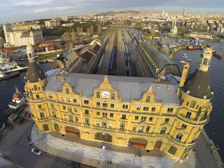 Haydarpasa station building from above, Istanbul, Turkey