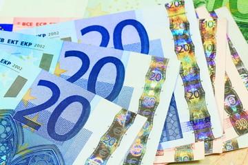 European currency money background. Macro details
