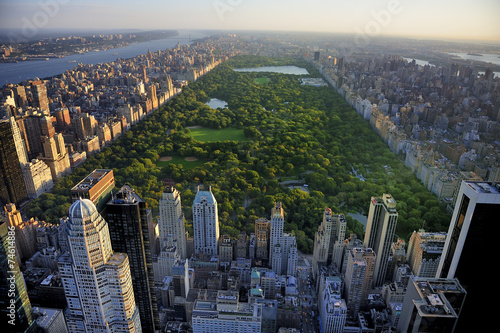 Fotobehang Verenigde Staten Central Park aerial view, Manhattan, New York; Park is surrounde