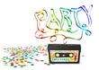Einladungskarte, Party, Konfetti, Kassette, 80er, Nostalgie