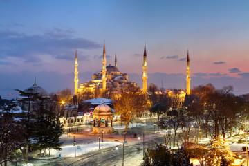 Blue Mosque, Sultanahmet on winter night.