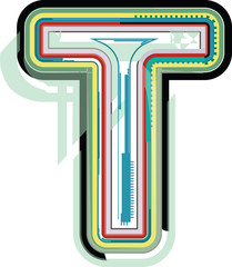 Abstract colorful Letter T