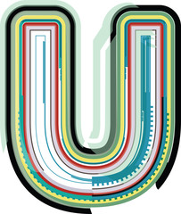 Abstract colorful Letter U