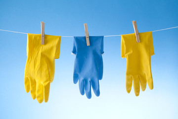 plastic bottle, cleaning sponges and gloves isolated