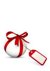 Gutschein, Preisschild, Kugel, Geschenk, Schleife, Vorlage, 3D