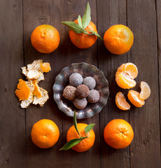Chocolate truffles and tangerins