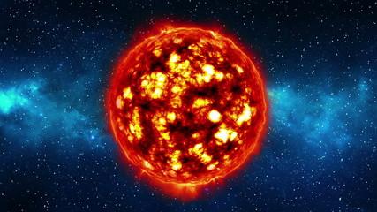Sun in universe or space, sun and galaxy in a nebula cloud. LOOP