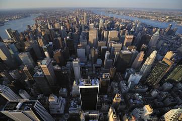 Aerial view of New York City skyline, Manhattan, New York