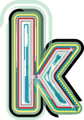 Abstract colorful Letter k
