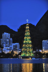 Christmas Tree on the water of Lagoon, Rio de Janeiro, Brazil