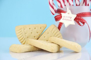 Traditional Christmas shortbread triangle shape cookies