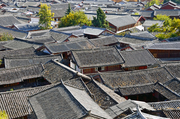 Roofs of Lijiang old town in China