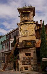 Details of Art-Nouveau facades and building decor in Tbilisi