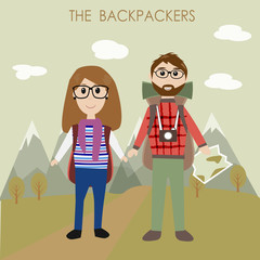 The couple backpackers